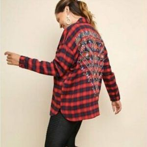 Umgee Plaid Embroidered Oversized Boxy Flannel
